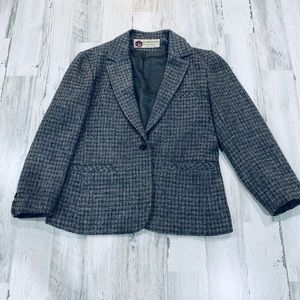 Vintage 70s Tweed Plaid Fitted Structured Blazer